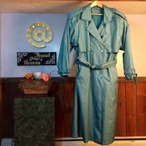Vintage Pale Teal Double Breasted Trench Coat